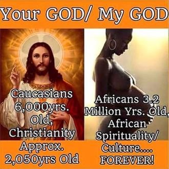 Meme-Critique. Image of Black woman as God.