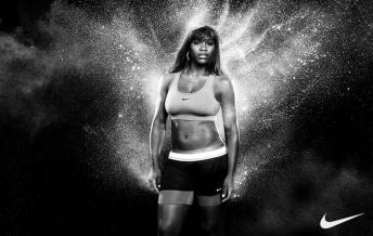 Serena Williams. Nike sportswear advertisement.