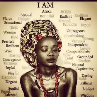 """Meme-Affirmations: """"I AM"""" with picture of a woman of African descent."""