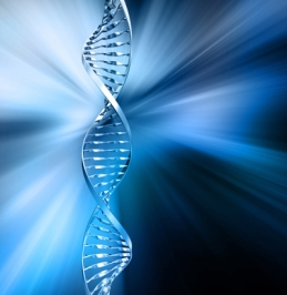 3D render of DNA strands on abstract background