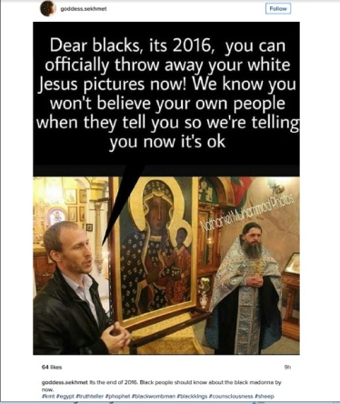 Meme. Dear Blacks, You can officially throw away your white jesus pictures now!